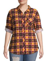 No Comment Juniors' Plus Size Roll-Tab Button Front Shirt