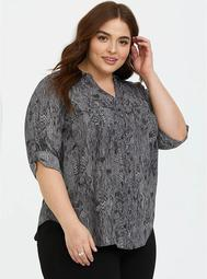 Grey Snakeskin Print Georgette Button-Down Blouse
