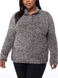 360Air Women's Plus Size Athleisure Half Button Down Sherpa Pull Over