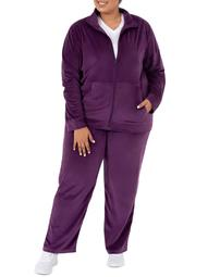 Athletic Works Women's Plus Active Velour Jacket and Pant 2 Piece Set