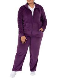 Athletic Works Women's Plus Active Velour Jacket and Pant 2 Piece Set