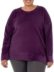 Athletic Works Women's Plus Size Velour Crew Neck Long Sleeve Pullover Top