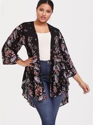 Black Floral Georgette Drape Front Kimono