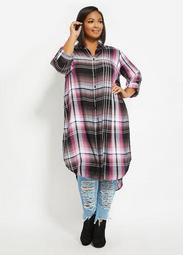 Black & Pink Plaid Duster