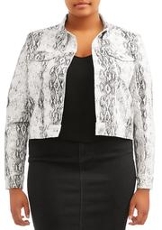Almost Famous Juniors' Plus Size Snakeskin Denim Jacket