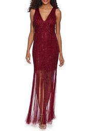 Beaded Fringe Gown