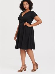 Black Jersey Eyelet Wrap Midi Dress