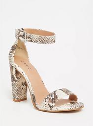 Snakeskin Print Faux Leather Ankle Strap Heel (Wide Width)