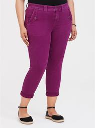 Twill Military Crop Pant - Berry Purple