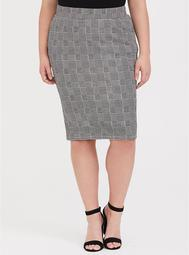 Black Plaid Houndstooth Textured Pencil Skirt