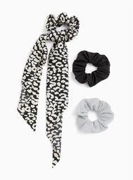 Black & White Scarf Hair Tie Pack - Pack of 3