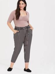 Multi Stripe Crepe Tie Front Tapered Pant