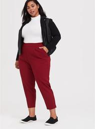 High Rise Ankle Pant - Dark Red