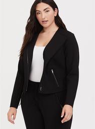 Black Premium Ponte Moto Jacket