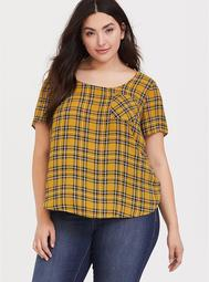 Abbey - Mustard Yellow Plaid Georgette Button Back Blouse