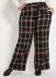 Belted Plaid High-Waist Pant