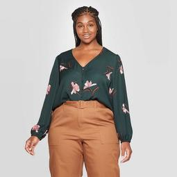 Women's Plus Size Floral Print Relaxed Fit Long Sleeve V-Neck Covered Button Blouse - Ava & Viv™ Dark Green