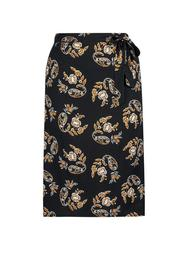 **DP Curve Black Printed Midi Skirt