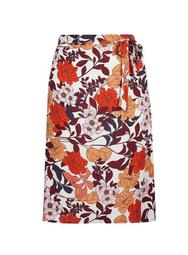 **DP Curve Ivory Floral Print Midi Skirt