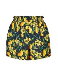 **DP Curve Blue Lemon Print Tie Waist Shorts