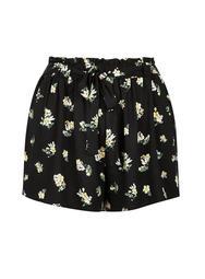 **DP Curve Black Ditsy Print Tie Waist Shorts