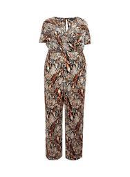 ** DP Curve Rust Snake Print Plisse Wrap Jumpsuit