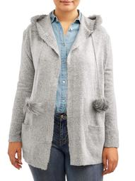 Concepts Women's Plus Size Long Sleeve Fur Trim Hooded Patch Pocket Cardigan with Pom Poms