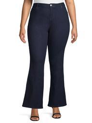 A3 Denim Women's Plus Size High Waist Flare Trouser Jean