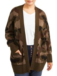 Alison Andrews Womens Plus Size Open Front Camouflage Jacquard Cardigan