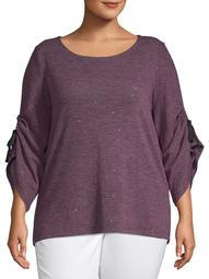 Concepts Women's Plus Size Ruching Bell Sleeve Neck Top with Grosgrain Ribbon Tie