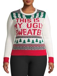 """American Stitch Women's Plus """"This is My Ugly Sweater"""" Christmas Sweater"""