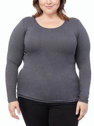 360Air Women's Plus Size Active Cozy Heat Scoop Neck Long Sleeve Top