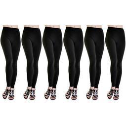 6-Pack Fleece Lined Leggings Midnight Black Regular - Size M/L