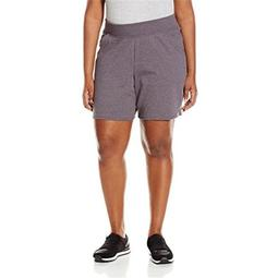 90563204229 Womens Plus Cotton Jersey Pull-On Shorts - Charcoal Heather, 1X