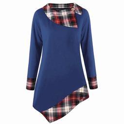 Akoyovwerve Fashion Plus Size Women Long Sleeve Plaid Lattice Asymmetric T-shirt Tops Blouse, Blue