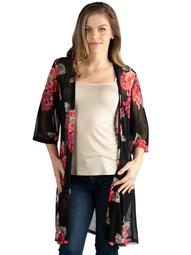 24seven Comfort Apparel Knee Length Black Floral Print Plus Size Kimono Cardigan Size 3X