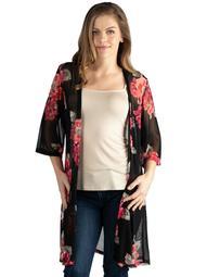 24seven Comfort Apparel Knee Length Black Floral Print Plus Size Kimono Cardigan Size 3X