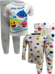 Baby Shark 4 Piece Cotton Toddler Pajamas