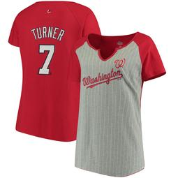 Trea Turner Washington Nationals Majestic Women's Plus Size Pinstripe Player T-Shirt - Gray/Red