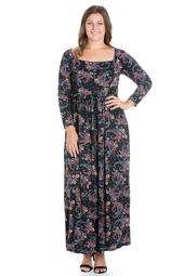 24seven Comfort Apparel Paisley Empire Waist Long Sleeve Plus Size Maxi Dress
