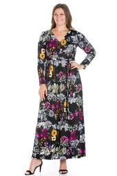 24seven Comfort Apparel Regal Blooms Floral Long Sleeve Plus Size Maxi Dress
