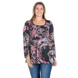 24seven Comfort Apparel Paisley Long Sleeve Plus Size Tunic Top