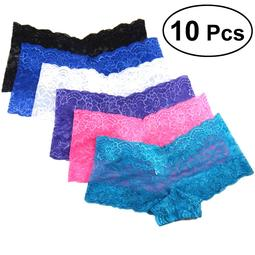 10Pack Women's Brief Soft Menstrual Period Underwear Color Lace Stitching Underpants High Waist Cotton Briefs Size 2XL (Random Color and Pattern)
