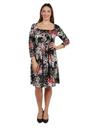 24seven Comfort Apparel Veronica Long Sleeve Empire Waist Velvet Plus Size Dress