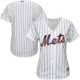New York Mets Majestic Women's Plus Size Cool Base Team Jersey - White/Royal