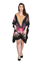 Black Women's Plus Size Tunic Dress for Women Casual Short Caftan Dresses Tunics for Plus Size Ladies Kimono Online by Oussum