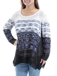 ALFANI Womens Blue Ivory Sequined  W/ Cami Ombre Long Sleeve Jewel Neck Sweater Plus  Size: XL