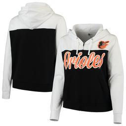 Baltimore Orioles 5th & Ocean by New Era Women's Plus Size French Terry Color Block Full-Zip Hoodie - Black/White