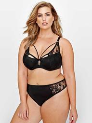 Ashley Graham Diva Lace & Straps Bra with Front Strap