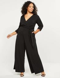 3/4-Sleeve Faux-Wrap Jumpsuit
